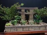 Espécie- Tuia Jacaré Idade- 5 anos Altura- 13cm OBS: Templo modelado em concreto celular.