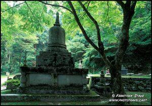 Fundamentos de Enryaku-ji templo no Monte Hiei, Kyoto, Japão