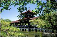 Ponte de madeira no jardim de Jingu Santuário Heian, Kyoto, Japão