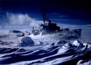 Charles Awithinbank - 1963 Antártica - Navio quebra gelo