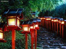 Lanternas de Kibune em Kyoto Japão