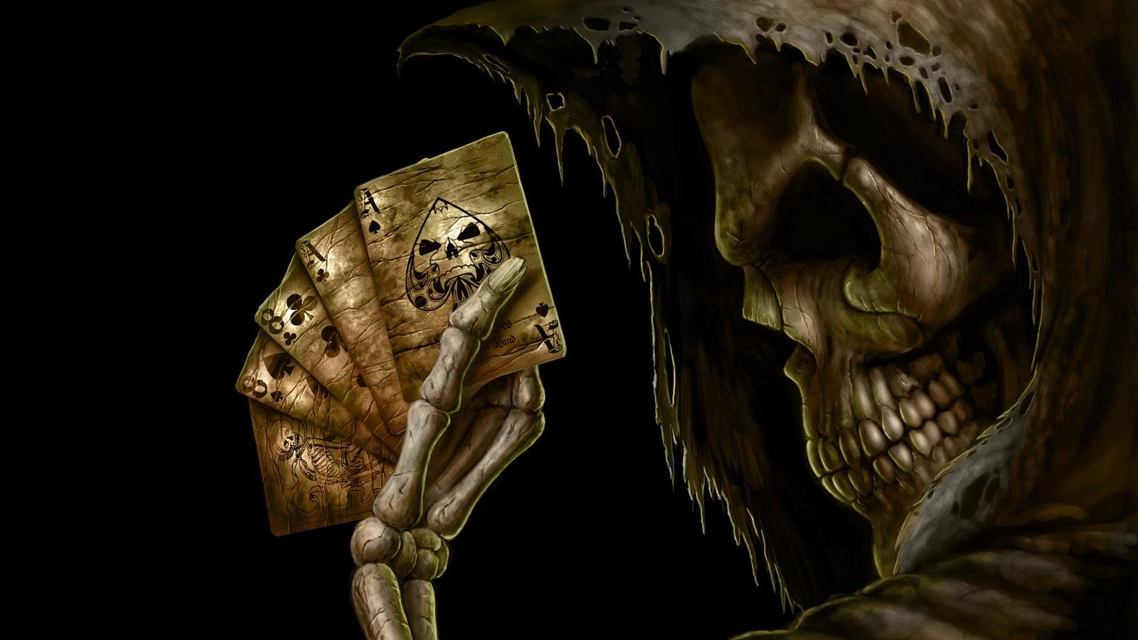 100 desenhos de caveira » a-caveira-e-o-baralho-da-morte
