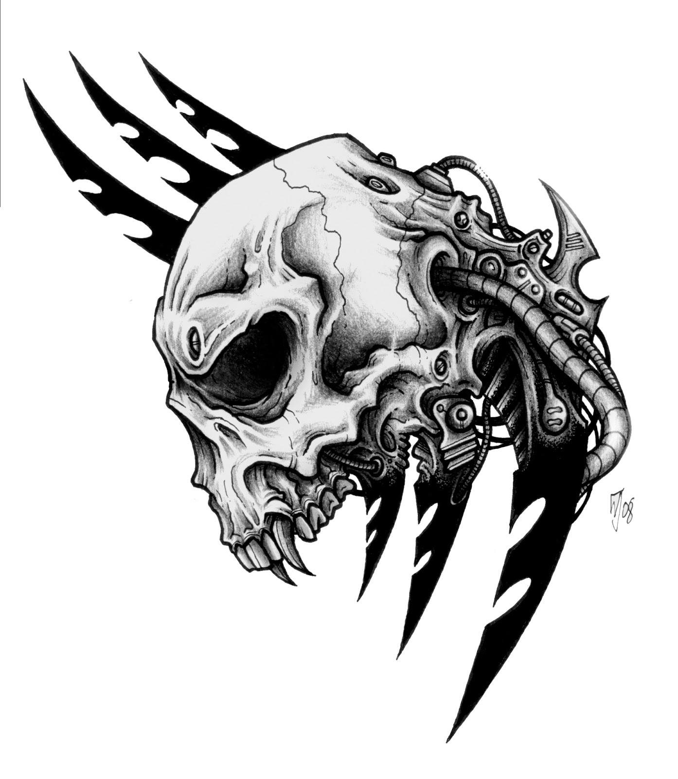 100 Desenhos De Caveira    Bio_mechanic_skull_by_CRAZYGRAFIX