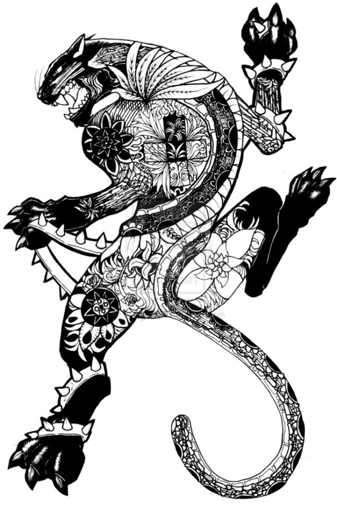 Felino Pantera Maori Desenho Para Costa