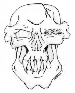 skull_line_art_by_tribal_clown-d3eqedi
