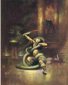 FRANKFRAZETTA-ART-FFCOLR13-FIGHTING_GREENSNAKEGHOST