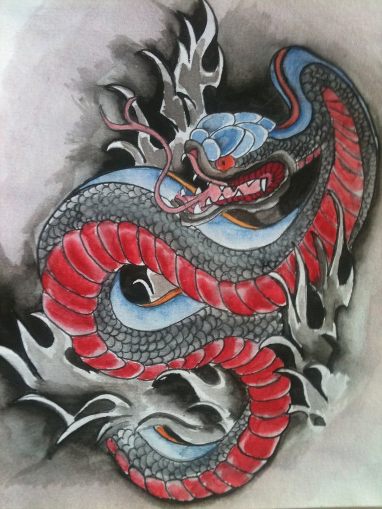 Th08 Deviantart Net Fs71 Pre I 2012 296 8 0 Japanese Inspired Snake Tattoo By Madworldofanarchy