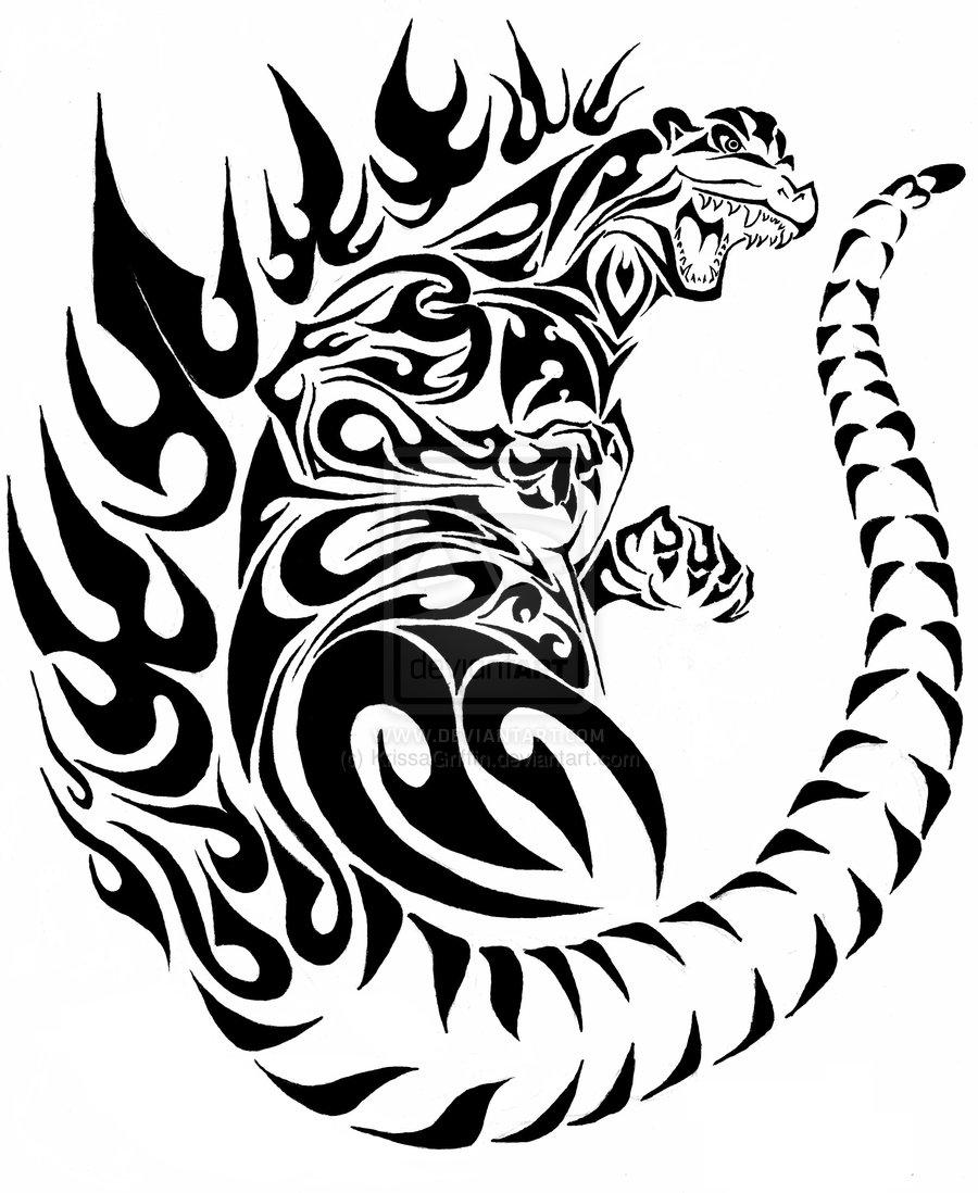 godzilla tribal tattoo by krissagriffin d4ct2a0 aido bonsai. Black Bedroom Furniture Sets. Home Design Ideas