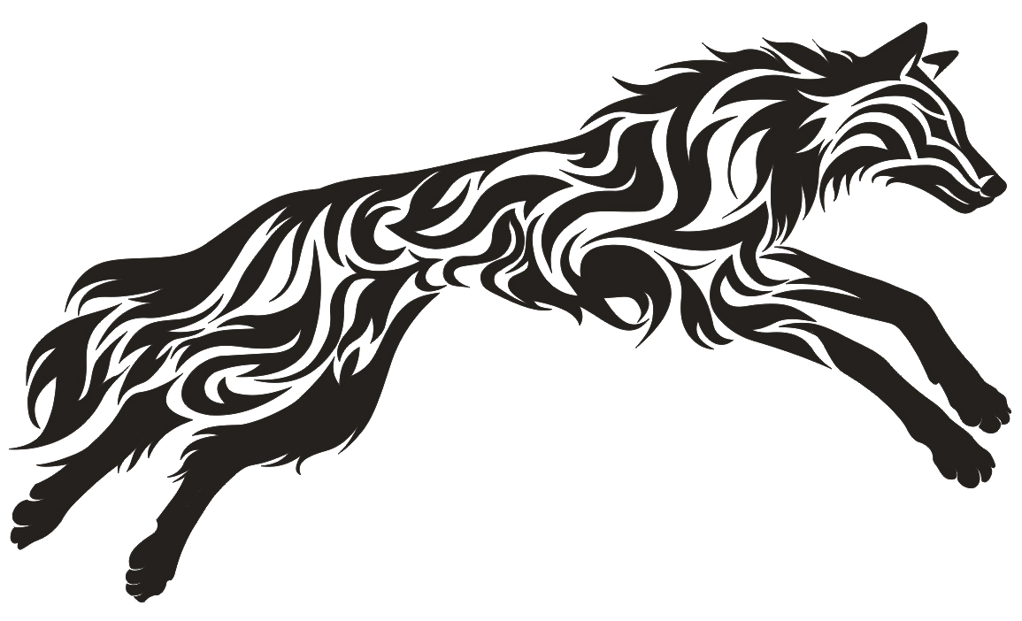 100 Tribais De Animais itattooz leaping wolf tribal tattoo