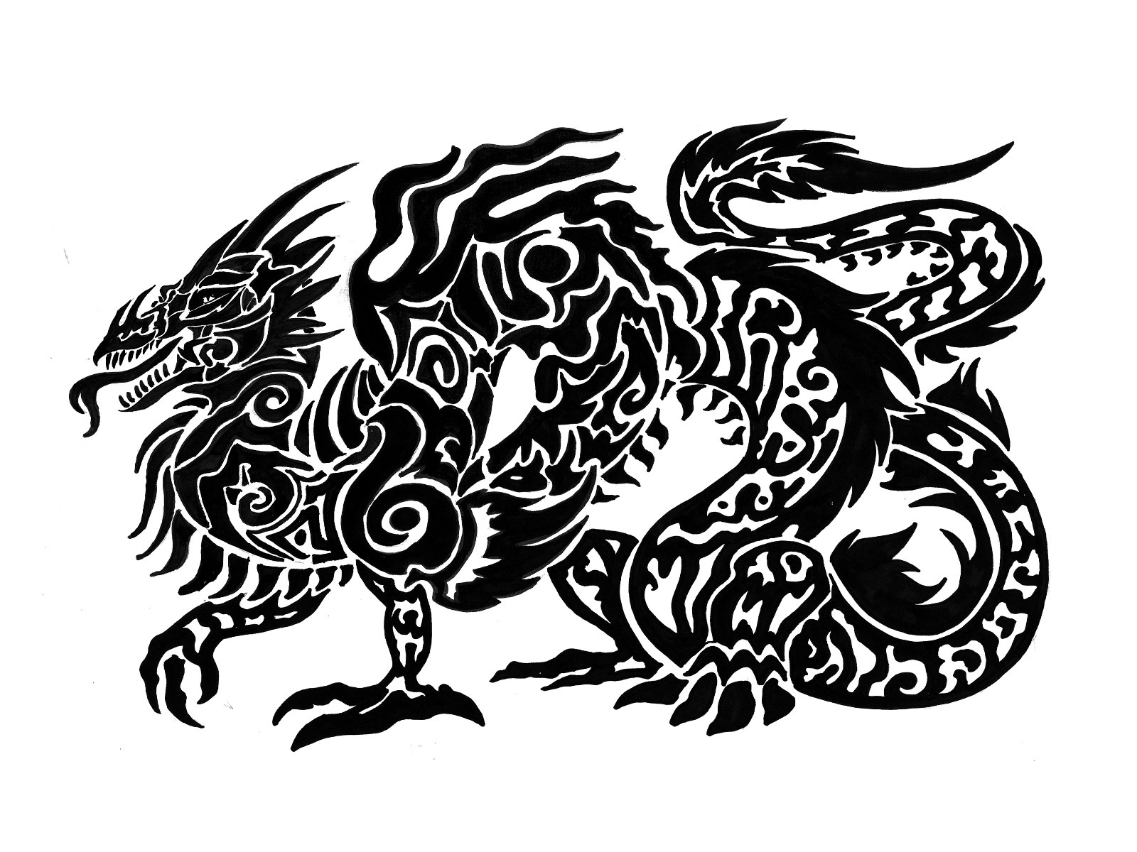 tribal_long_body_dragon_tattoo